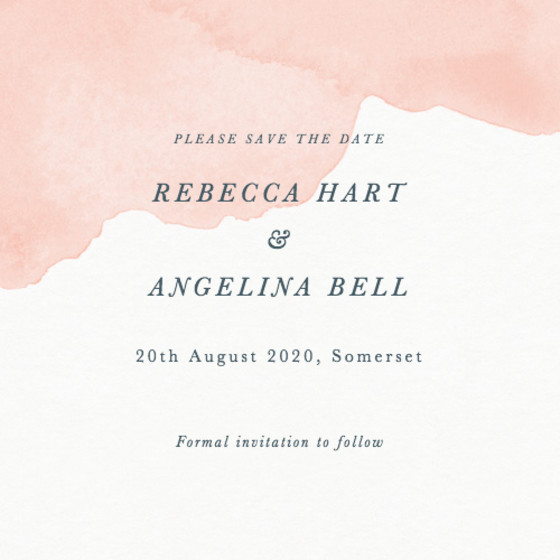 Blush Dusk   Personalised Save The Date