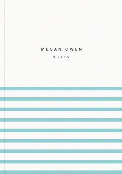 Demi Aqua Stripe | Personalised Lined Notebook