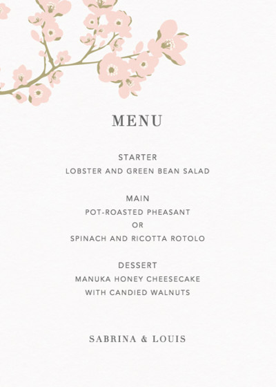 Cherry Blossoms | Personalised Menu