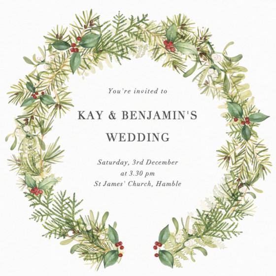 Winter Wreath   Personalised Wedding Invitation