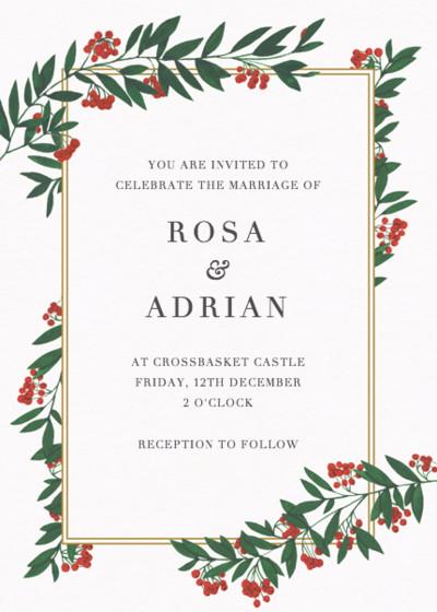 Winter Red Berries | Personalised Wedding Invitation