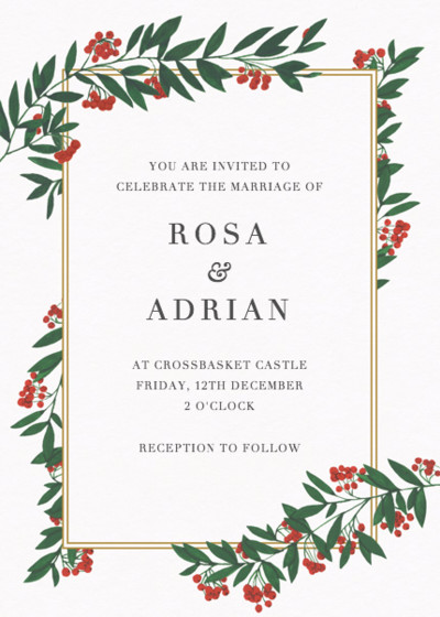 Winter Red Berries | Personalised Wedding Invitation