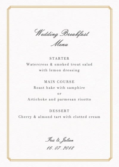 Customisable Wedding Menu Cards  Wedding Stationery  Papier