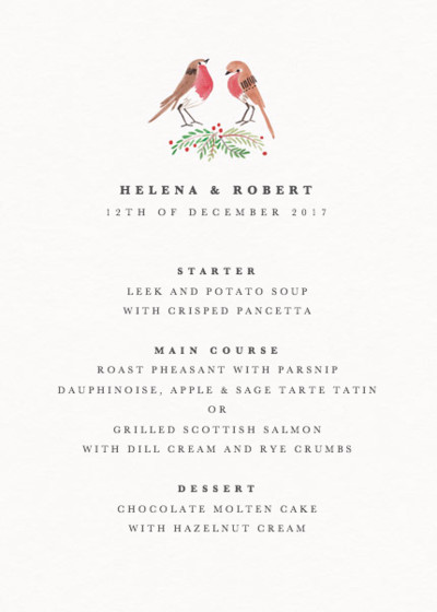 Robins | Personalised Menu