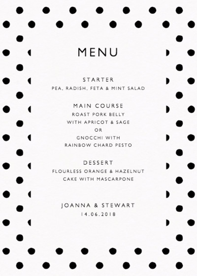 Painted Polka Dot | Personalised Menu