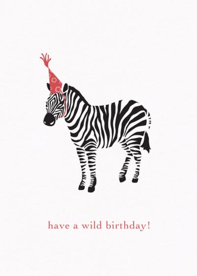 Birthday Zebra   Personalised Birthday Card