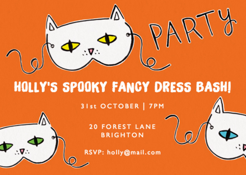 Halloween Cat Masks | Personalised Party Invitation