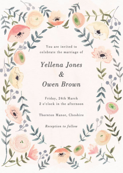 Spring Anemones | Personalised Wedding Invitation