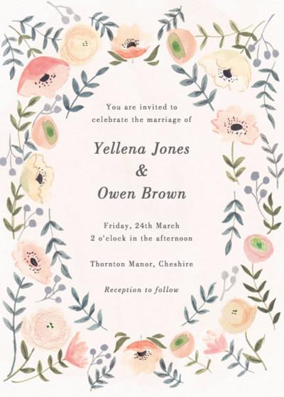 Spring Anemones | Personalised Wedding Invitation