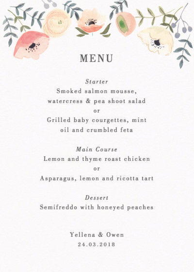 Spring Anemones | Personalised Menu