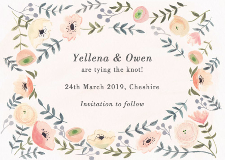 Spring Anemones | Personalised Save The Date