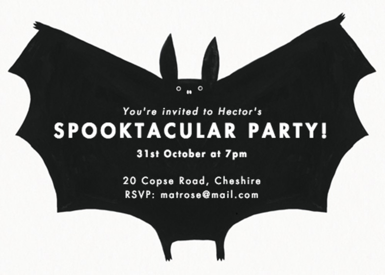 Spooky Bat | Personalised Party Invitation