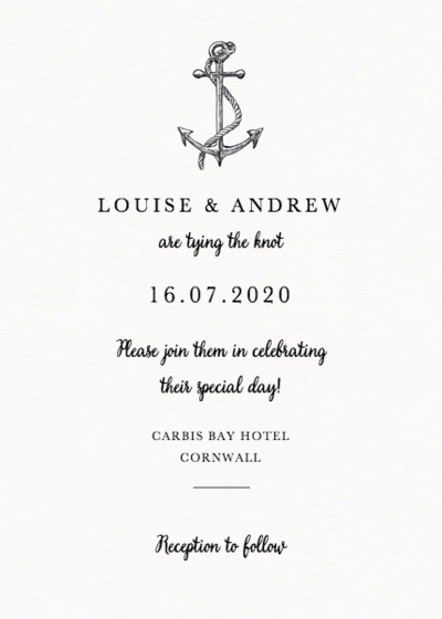 Set Sail | Personalised Wedding Invitation