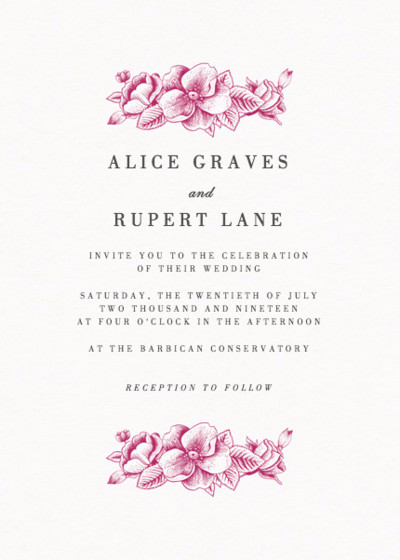 Crimson Hydrangea | Personalised Wedding Invitation
