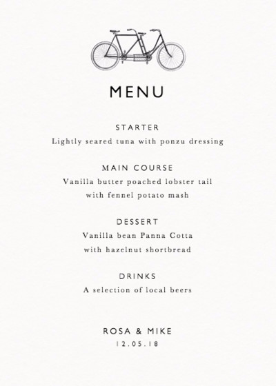 Vintage Vélo | Personalised Menu