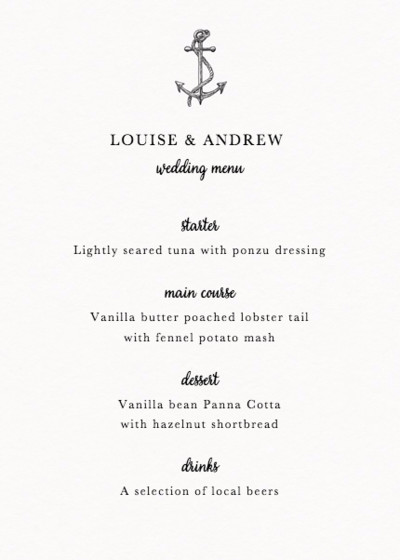 Set Sail | Personalised Menu