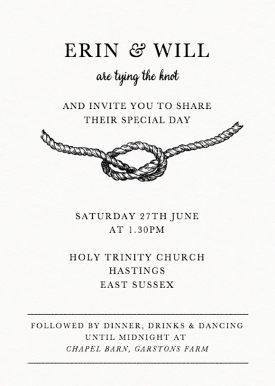 Tie The Knot | Personalised Wedding Invitation