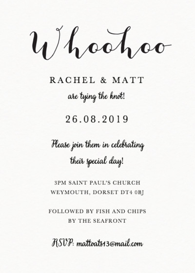 Whoohoo | Personalised Wedding Invitation