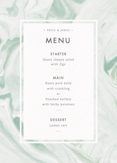 Marbled Vert | Personalised Menu