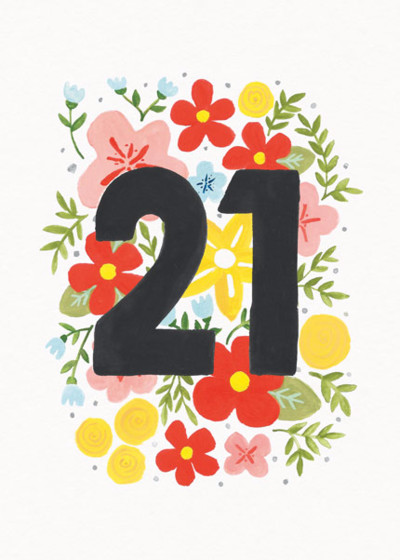 Floral 21st   Personalised Birthday Card