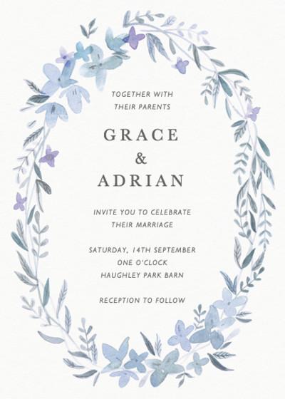 Hydrangea Garland   Personalised Wedding Invitation