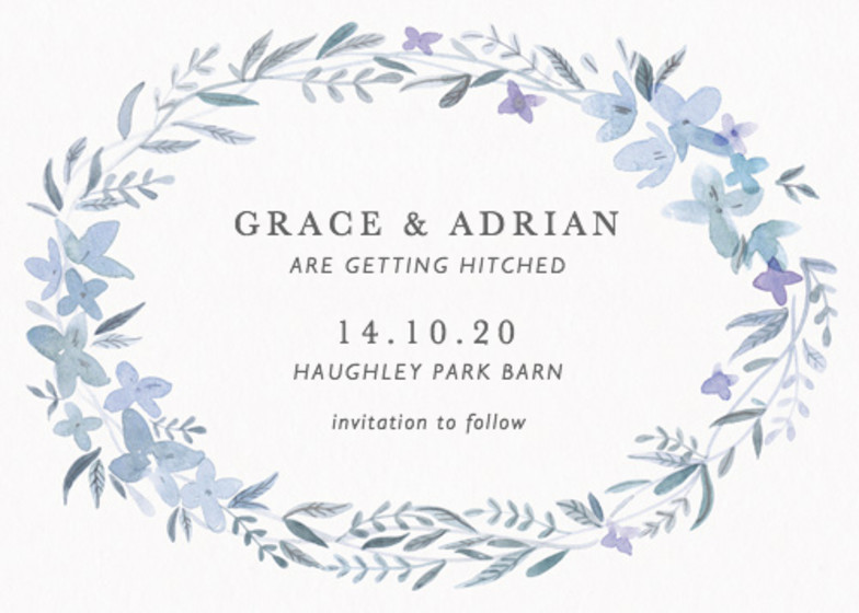 Hydrangea Garland | Personalised Save The Date