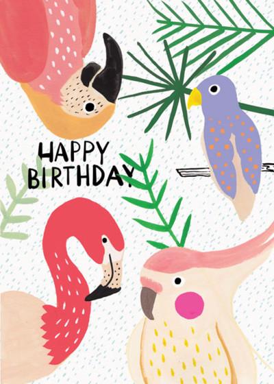 Tropical Birds | Personalised Birthday Card