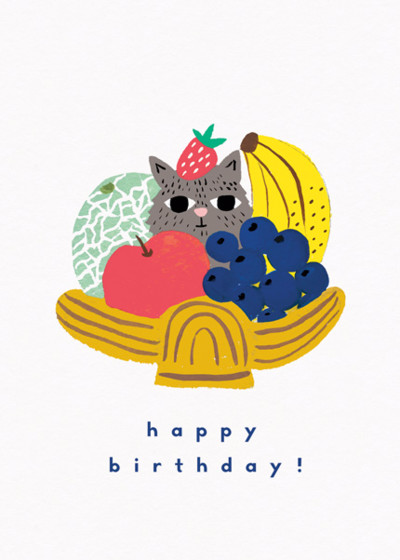 Fruity Kitty | Personalised Birthday Card