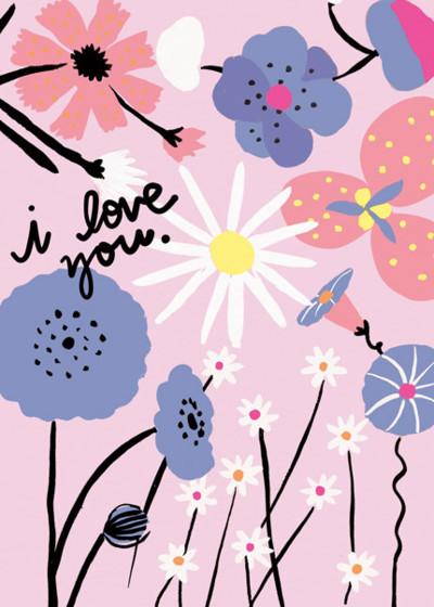 Love Blooms   Personalised Greeting Card