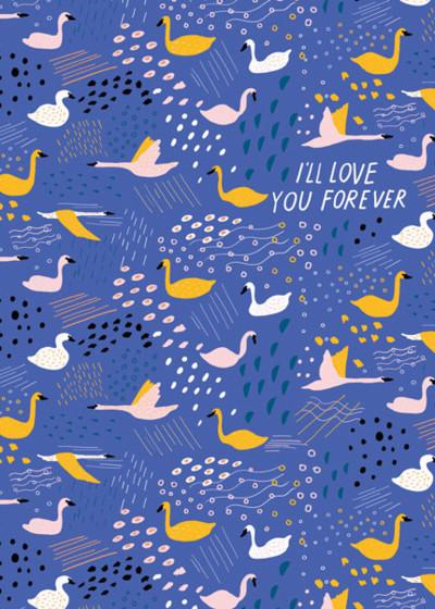 Swans   Personalised Greeting Card