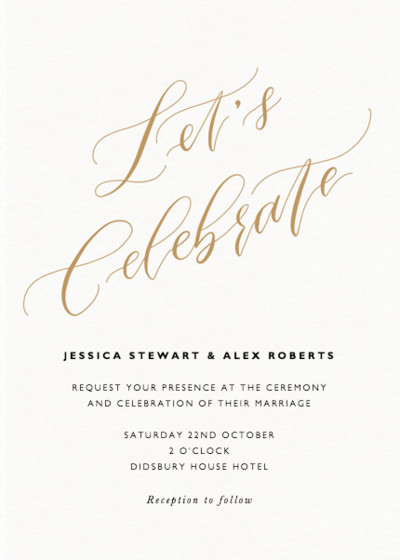 Let's Celebrate Gold | Personalised Wedding Invitation