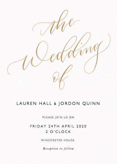 The Wedding Of Calligraphy Gold   Personalised Wedding Invitation