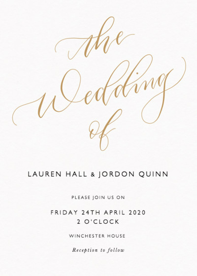 The Wedding Of Calligraphy Gold | Personalised Wedding Invitation