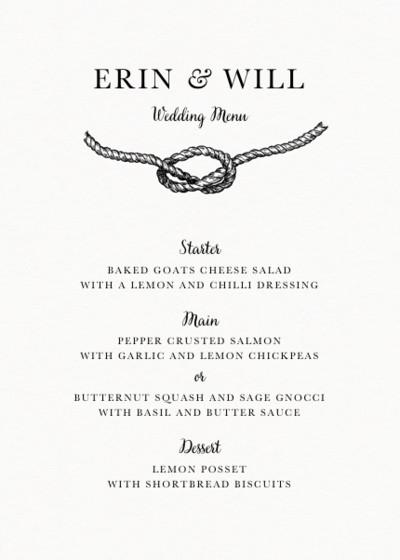 Tie The Knot | Personalised Menu