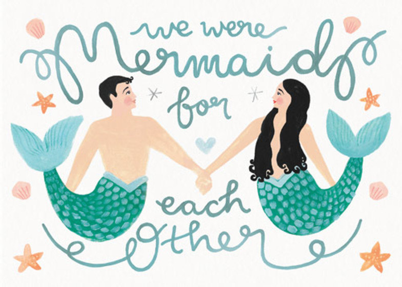 Mermaid For Each Other | Personalised Greeting Card