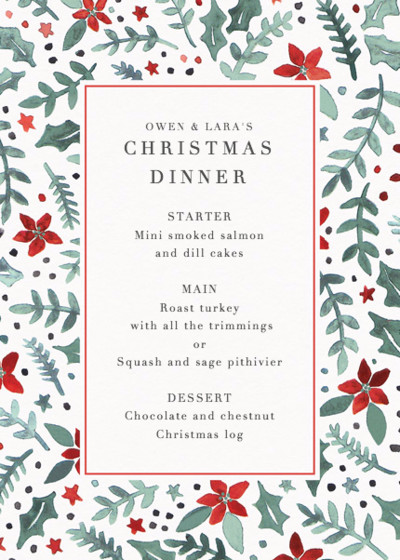 Poinsettia Scatter | Personalised Menu