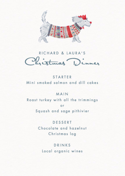 Christmas Dog | Personalised Menu