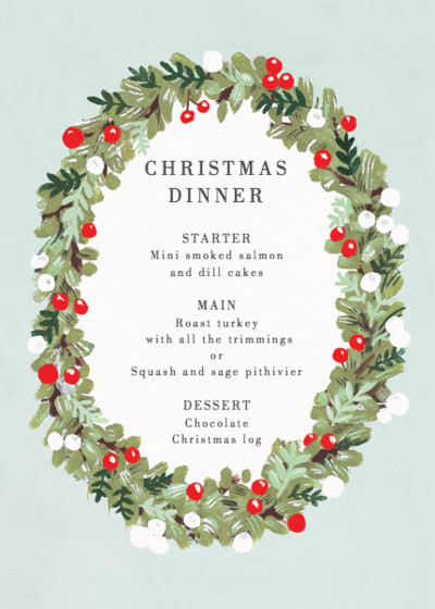 Festive Wreath | Personalised Menu