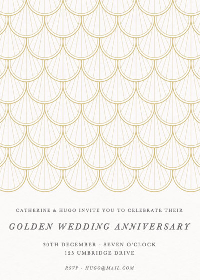 Gold Scallop | Personalised Anniversary Invitation