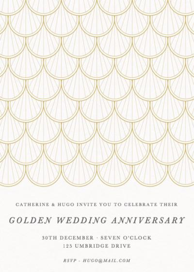 Gold Scallop | Personalised Anniversary Invitation