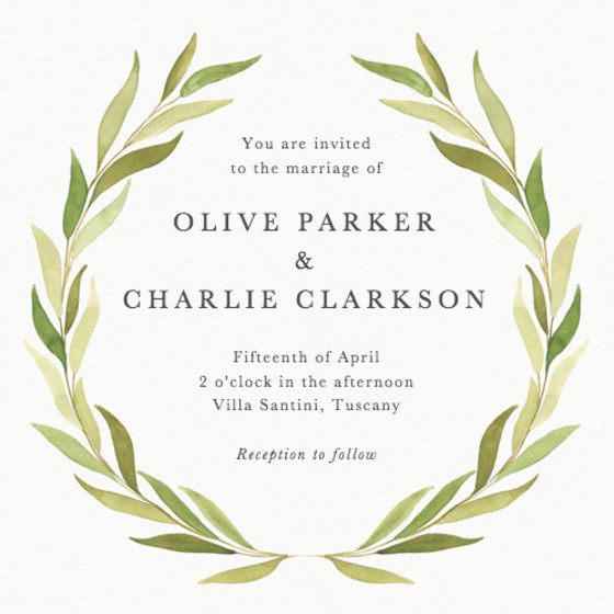Olive Wreath | Personalised Wedding Invitation
