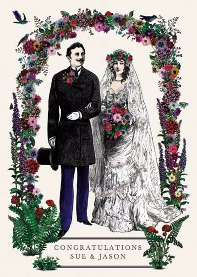 Victorian Wedding Couple | Personalised Congratulations Card