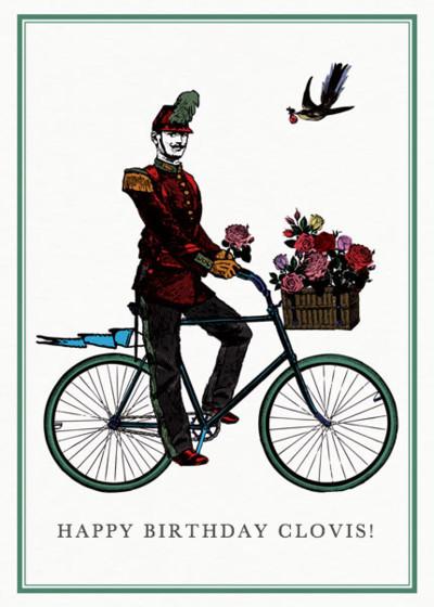 Flower Cyclist    Personalised Birthday Card