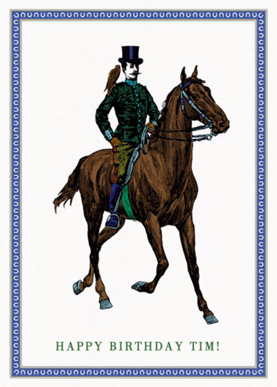 Gent On His Horse | Personalised Birthday Card