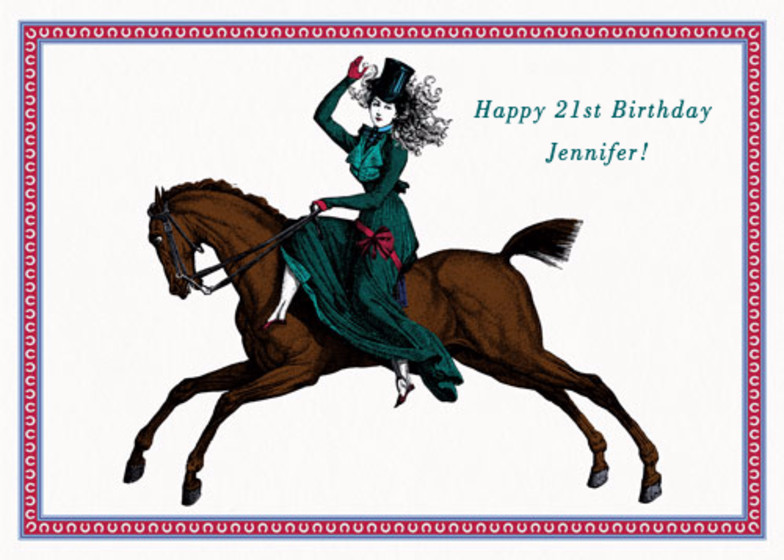 Lady On Her Horse | Personalised Birthday Card