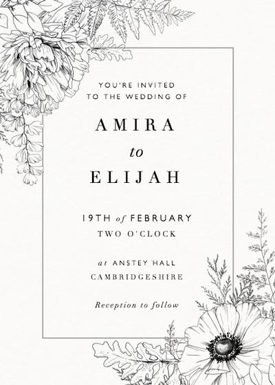 Monochrome Florals   Personalised Wedding Suite