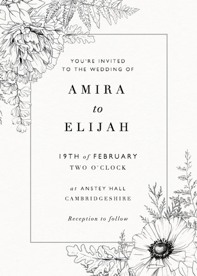 Monochrome Florals | Personalised Wedding Invitation