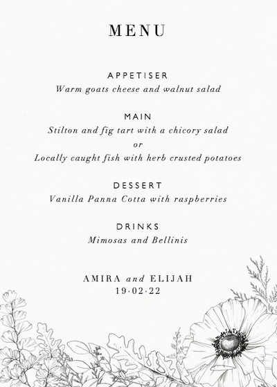 Monochrome Florals | Personalised Menu