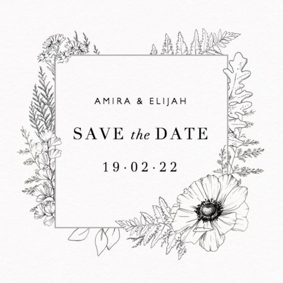 Monochrome Florals | Personalised Save The Date