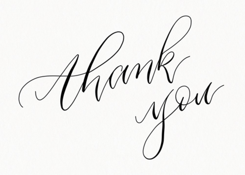 Personalised thank you cards customise online papier Thank you in calligraphy writing